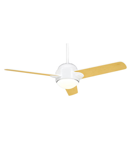 Casablanca Factory Refurbished Trident 1 Light Ceiling Fan - Gallery Edition in Snow White with Snow White/Maple Blades TRIH-11 photo