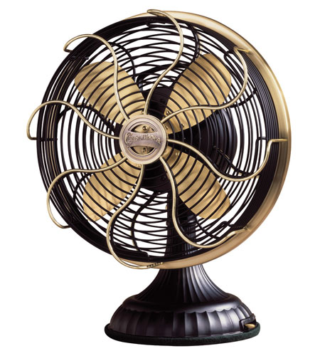 Casablanca Factory Refurbished Zephair Desk Fan Portable Fan Portable Fan in Matte Black with Satin Brass accents 1928D photo