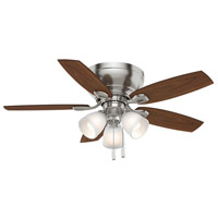 Durant 44 inch Brushed Nickel with Walnut/ Burnt Walnut Blades Indoor Ceiling Fan