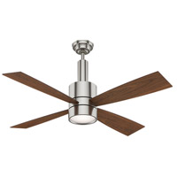 Bullet 54 inch Brushed Nickel with Reversible Walnut/Burnt Walnut Veneer Blades Ceiling Fan