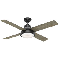 Levitt 54 inch Matte Black with Reversible Barnwood/Rustic Oak Blades Ceiling Fan