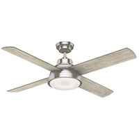 Levitt 54 inch Brushed Nickel with Reversible Light Grey Oak/Barnwood Blades Ceiling Fan