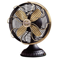 Casablanca Factory Refurbished Zephair Desk Fan Portable Fan Portable Fan in Matte Black with Satin Brass accents 1928D photo thumbnail
