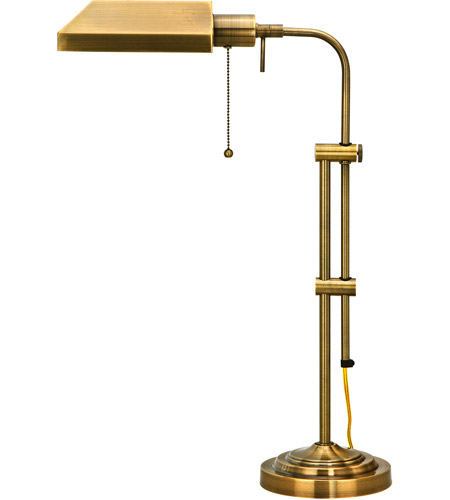 Cal Lighting BO-117TB-AB Pharmacy 22 inch 60 watt Antique Brass Table Lamp Portable Light, Adjustable Pole photo