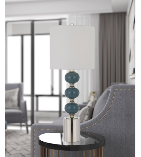 Light Blue and Chrome Table Lamps