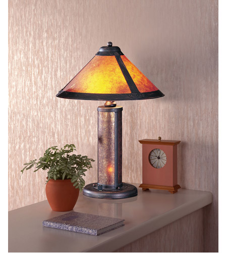Cal Lighting BO-466 Mica 20 inch 40 watt Rust Accent Table Lamp Portable Light, with Night Light alternative photo thumbnail
