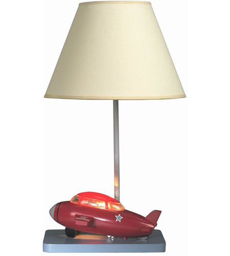Cal Lighting BO-5671 Bomber Plane 20 inch 60 watt Red And Brown Kids Table Lamp Portable Light, with Night Light photo thumbnail