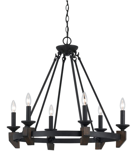 Cal Lighting FX-3517/6 Cruz 6 Light 33 inch Warm Bronze and Wood Chandelier Ceiling Light photo thumbnail