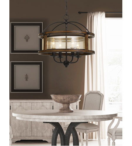 Cal Lighting Metal and Wood Chandeliers