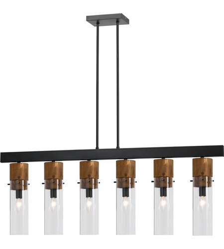 Cal Lighting FX-3583-6 Spheroid 6 Light 43 inch Black and Wood Island Chandelier Ceiling Light photo thumbnail