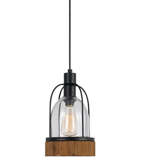 cal lighting fx 3584 1p beacon 1 light 7 inch black and wood pendant