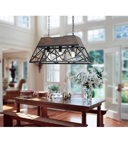 Cal Lighting FX-3585-3 Antonio 3 Light 32 inch Black and Wood Chandelier Ceiling Light alternative photo thumbnail