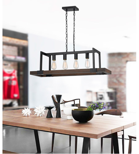 Cal Lighting FX-3586-4 Antonio 4 Light 38 inch Wood and Black Chandelier Ceiling Light alternative photo thumbnail