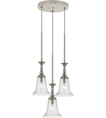 Cal Lighting Fx 3610 3 Belair Light 14 Inch Brushed Steel Mini Pendant Ceiling
