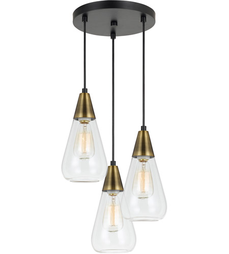 Cal Lighting Fx 3623 3p Ellyn 3 Light 12 Inch Antique Br And Black Pendant Ceiling