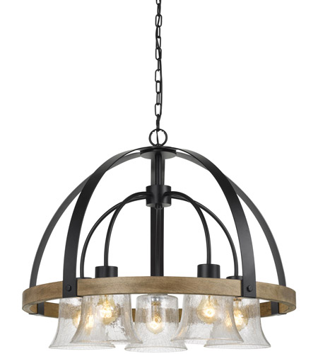 Cal Lighting Fx 3662 5 Bell Light 28 Inch Black And Wood Chandelier