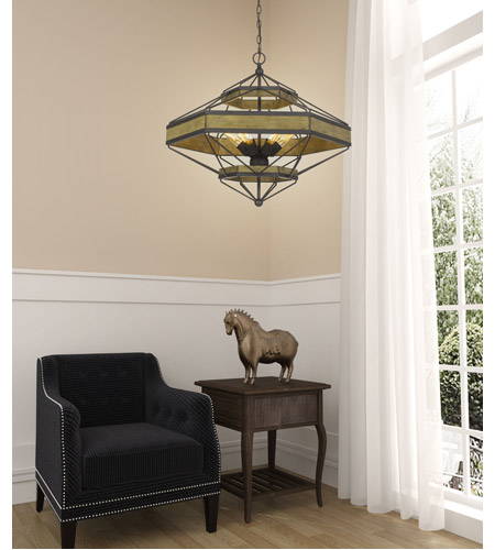 Cal Lighting Black and Wood Chandeliers