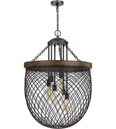 Cal Lighting FX-3718-6 Marion 6 Light 26 inch Bronze with Wood Chandelier Ceiling Light photo thumbnail