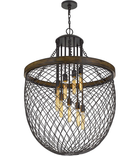 Cal Lighting FX-3718-9 Marion 9 Light 32 inch Bronze with Wood Chandelier Ceiling Light alternative photo thumbnail