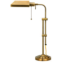 Cal Lighting BO-117TB-AB Pharmacy 22 inch 60 watt Antique Brass Table Lamp Portable Light Adjustable Pole
