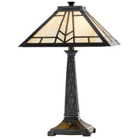 Mission 23 inch 60 watt Yellow Cream Tiffany Table Lamp Portable Light