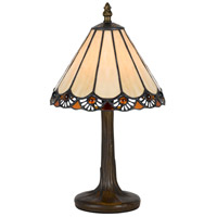 Cal Lighting BO-2382AC Tiffany 14 inch 40 watt Antique Brass Accent Table Lamp Portable Light