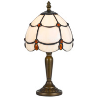 Cal Lighting BO-2384AC Tiffany 13 inch 40 watt Antique Brass Accent Table Lamp Portable Light