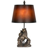 Bear 26 inch 100 watt Cast Bronze Table Lamp Portable Light