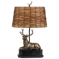 Deer 28 inch 100 watt Cast Bronze Table Lamp Portable Light