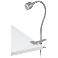 Signature 14 inch 6 watt Brushed Steel Gooseneck Clip On Lamp Portable Light