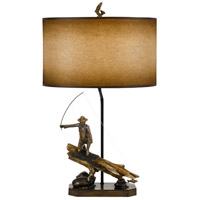 Fisherman 31 inch 150 watt Cast Bronze and Faux Wood Table Lamp Portable Light