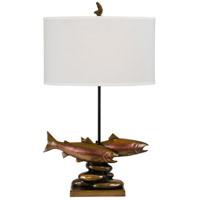 Trout 32 inch 150 watt Cast Bronze Table Lamp Portable Light