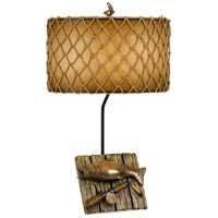 Fishing 31 inch 150 watt Cast Bronze and Faux Wood Table Lamp Portable Light