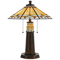 Cal Lighting BO-2670TB Tiffany 25 inch 60 watt Bronze Table Lamp Portable Light