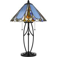 Cal Lighting BO-2672TB Tiffany 24 inch 60 watt Matt Black Table Lamp Portable Light