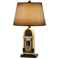 Jukebox 28 inch 150 watt Antique Bronze and Ivory Table Lamp Portable Light