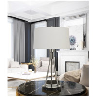 Halle 30 inch 150 watt Brushed Steel and Black Table Lamp Portable Light