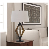 Valence 29 inch 150 watt Black and Pine Wood Table Lamp Portable Light