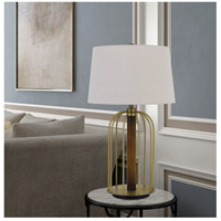 Cal Lighting BO-2860TB Sevran 31 inch 150 watt Antique Brass and Rubber Wood Table Lamp Portable Light