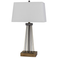 Cal Lighting BO-2870TB Basilica 30 inch 150 watt Bronze with Antique Brass and Wood Table Lamp Portable Light