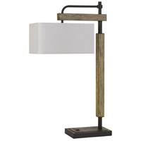 Alloa 32 inch 100 watt Dark Bronze with Wood Desk Lamp Portable Light