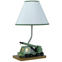 Boom Crane 21 inch 60 watt Green And White Table Lamp Portable Light, with Night Light