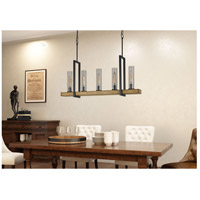 Cal Lighting FX-3704-5 Vienna 5 Light 40 inch Iron and Light Oak Island Chandelier Ceiling Light Test Tube