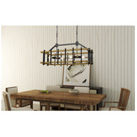 Cal Lighting FX-3705-6 Bruck 6 Light 41 inch Iron and Light Oak Island Chandelier Ceiling Light