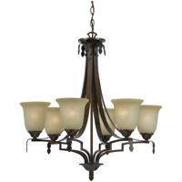 Cal Lighting FX-3506/6 Dabois 6 Light 28 inch Gold Bronze Chandelier Ceiling Light