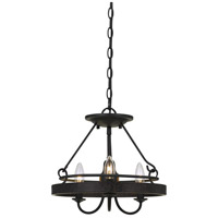 Cal Lighting FX-3518-3 Helena 3 Light 14 inch Texture Gray With Moroccan Bronze Pendant Ceiling Light, Convertible to Semi-Flush