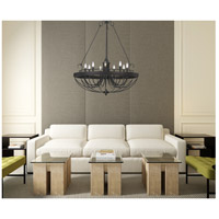 Helena 9 Light 36 inch Texture Gray With Moroccan Bronze Chandelier Ceiling Light
