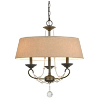 Cal Lighting FX-3532/3 Dawson 3 Light 22 inch Oil Rubbed Bronze and Crystal Chandelier Ceiling Light