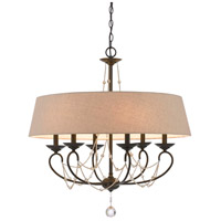 Cal Lighting FX-3532/6 Dawson 6 Light 30 inch Oil Rubbed Bronze and Crystal Chandelier Ceiling Light