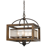 Signature 4 Light 16 inch Wood Semi Flush Pendant Ceiling Light